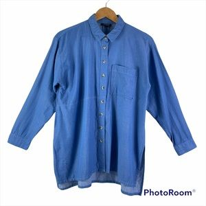 TOPSHOP Chambray Long Sleeve Button Down Shirt Size 8